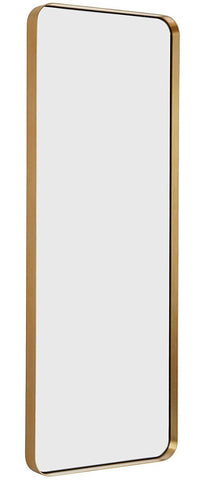 "Image of Hamilton Hills Contemporary Brushed Metal Tall Silver Wall Mirror | Glass Panel Silver Framed Rectangle Deep Set Design (18"" x 48"")"