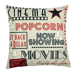Movie Theater Cinema Personalized Home Decor Design Throw Pillow Cover Pillow Case 18 x 18 Inch Cotton Linen for Sofa Set of 4