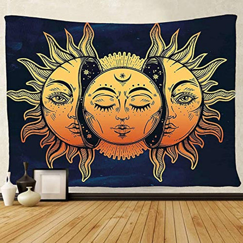 Tapestry Wall Hanging, sun and moon Psychedelic small Wall Tapestry with Art chakra Home Decorations for Bedroom Dorm Decor in 51x60 Inches