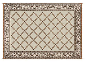 Reversible Mat Brown & Beige Patio (9' x 12') - zingydecor
