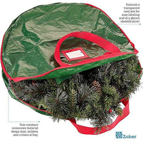 Image of Zober Wreath Storage Bag - Tear Resistant Material Storage Bag for Wreath Storage with Sleek Zipper Featuring Transparent Card Slot for Labeling | 24 x 24 x 7 (Green)