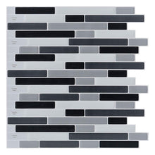 "Load image into Gallery viewer, 10-Sheets Peel and Stick Tile for Kitchen Backsplash, 12""x12"" White Subway Tile with Grey Grount - zingydecor"