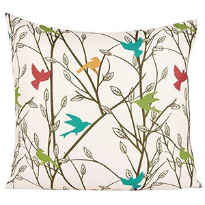 Puredown Canvas Pillow Sham Indoor/Outdoor Cushion Covers Summertime Bird Print Square 18X18 inch Multicolor - zingydecor