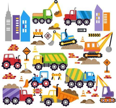 Image of City Construction Decorative Peel & Stick Wall Art Sticker Decals