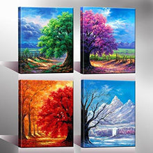 Load image into Gallery viewer, 4 Seasons Modern Landscape 4 Panels Framed Canvas Print Wall Art, Ready to Hang - zingydecor