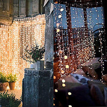 Load image into Gallery viewer, Twinkle Star 300 LED Window Curtain String Light for Wedding Party Home Garden Bedroom Outdoor Indoor Wall Decorations (Warm White)