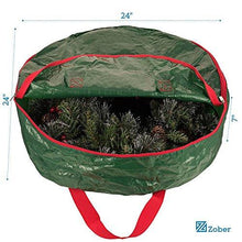 Load image into Gallery viewer, Zober Wreath Storage Bag - Tear Resistant Material Storage Bag for Wreath Storage with Sleek Zipper Featuring Transparent Card Slot for Labeling | 24 x 24 x 7 (Green) - zingydecor