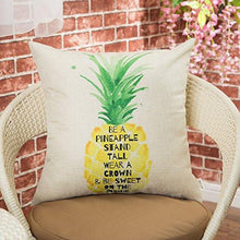 "Load image into Gallery viewer, Be a Pineapple Stand Tall Wear a Crown and Be Sweet on the Inside Inspirational Quote Cotton Linen Decorative Throw Pillow Case Cushion Cover for Sofa Couch, Gold Yellow, 18"" x 18"" - zingydecor"