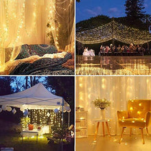 Load image into Gallery viewer, LE 306 LED Curtain Lights, 9.8 x 9.8 ft, 8 Modes Plug in Fairy String Lights, Warm White Indoor Outdoor Decorative Christmas Twinkle Lights for Bedroom, Parties, Wedding Backdrop, Dorm, Patio and More - zingydecor
