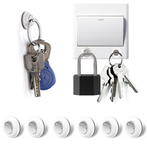 Image of Tescat 6 Packs Magnetic Key Holder, Key Racks - Without Drilling - Easily Installed By Applying Adhesive
