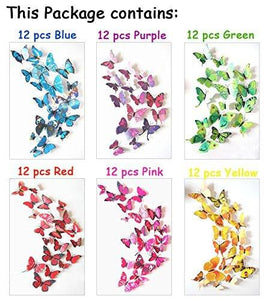 72 x PCS 3D Colorful Butterfly Wall Stickers DIY Art Decor Crafts For Nursery Classroom Offices Kids Bedroom Bathroom Living Room Magnets And Glue - zingydecor