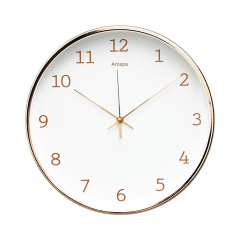 "Image of Luxury Modern 12"" Silent Non-Ticking Wall Clock with Rose Gold Frame (Feminine White)"