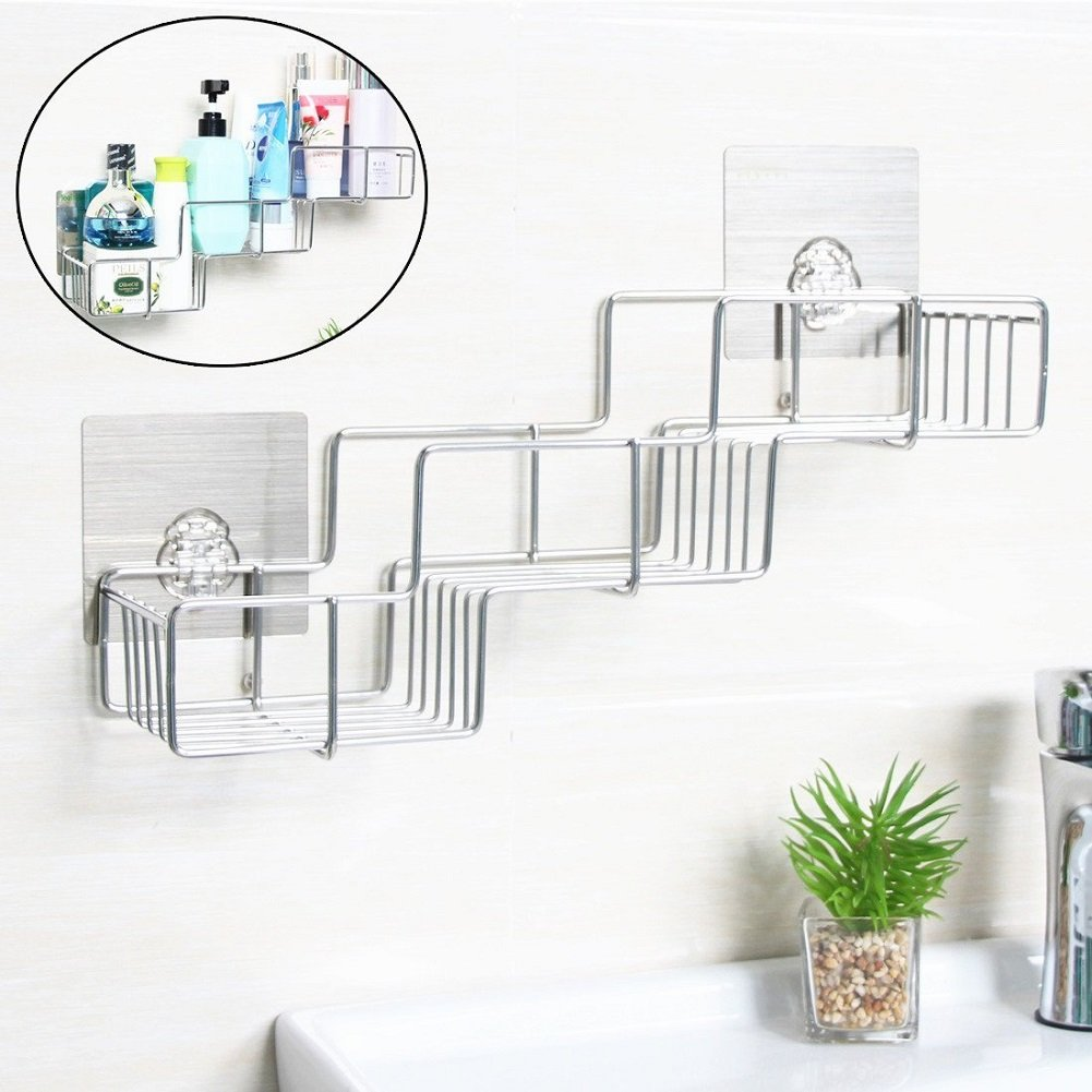 VIAV Adhesive Bathroom Shelf Organizer Storage Stainless Steel Shower Caddy Wall Mount No Drilling No Rusting (Style A)
