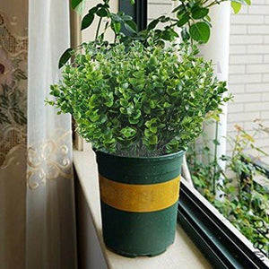 Artificial Shrubs, Hogado 4pcs Faux Plastic Eucalyptus Leaves Bushes Fake Simulation Greenery Plants Indoor Outside Home Garden Office Verandah Wedding Decor - zingydecor
