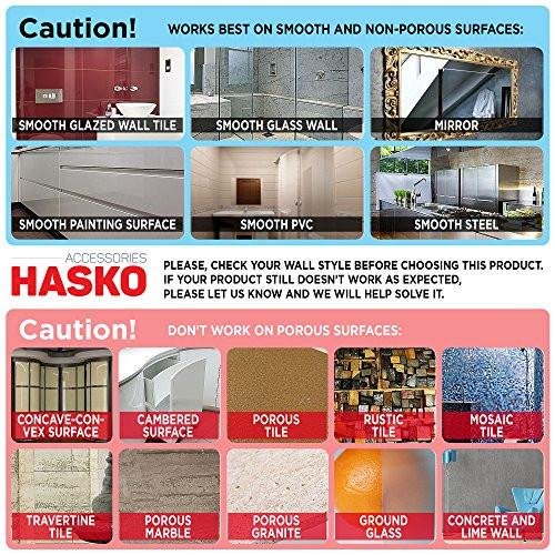 HASKO accessories - Super Powerful Vacuum Suction Cup Hook Holder - Organizer for Towel, Bathrobe and Loofah, Chrome