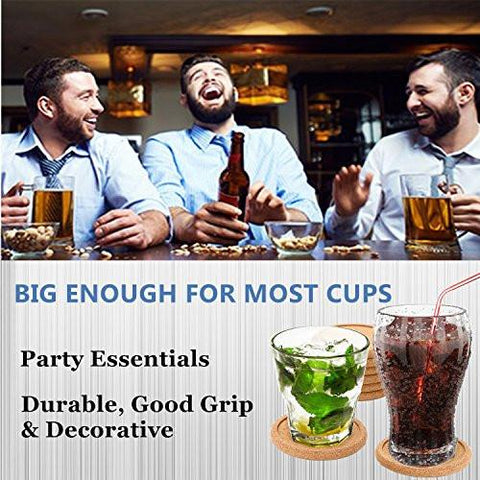Image of Dulce Cocina Cork Coasters Premium Set of 8 - Save Your Furniture Surface From Stains And Moisture By Durable Large Deep Tray That Catches Condensation & Liquid From Cold Drinks
