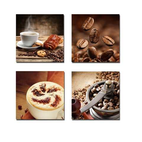 Image of Wieco Art P4R1x1-08 4-Panel Canvas Print Warm Coffee Modern Canvas Wall Art, 12 by 12-Inch