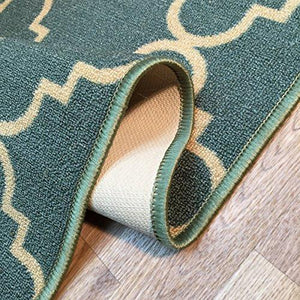 "Anti-Bacterial Rubber Back DOORMAT Non-Skid/Slip Rug 18""x31"" Blue Moroccan Trellis Interior Entrance Decorative Low Profile Modern Indoor Front Inside Kitchen Thin Floor Runner DOOR MATS for Home - zingydecor"