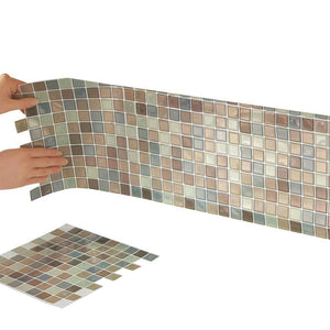 Collections Etc Multi-Colored Adhesive Mosaic Backsplash Tiles for Kitchen and Bathroom - Set of 6, Brown Multi - zingydecor