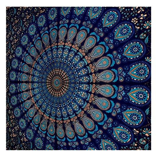 Blue Tapestry Wall Hanging Mandala Tapestries Indian Cotton Bedspread Picnic Bedsheet Blanket Wall Art Hippie Tapestry - zingydecor