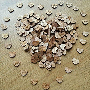 100pcs Rustic Wooden Love Heart Wedding Table Scatter Decoration Crafts - zingydecor