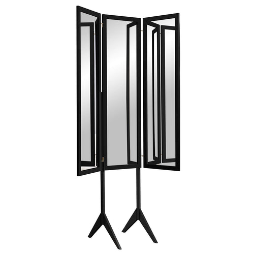 Mirrotek Cheval Style Stand Alone Expandable Triple View Mirror Black - zingydecor