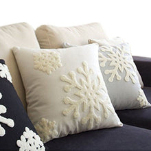 "E.life 18x18"" Soft Canvas Christmas Winter Snowflake Style Cotton Linen Embroidery Throw Pillows Covers w/ Invisible Zipper for Bed Sofa Cushion Pillowcases for Kids Bedding (1 Pair, White)"