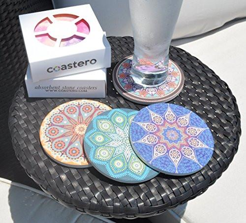 Coastero Absorbent Stone Coasters - Mandala - Set of 4