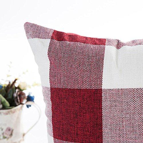 Red White Christmas Buffalo Checkers Plaids Linen Square Throw Pillow Cover Decorative Cushion Shams Pillowcase Love Cushion Case for Sofa 18 x 18 Inch - zingydecor