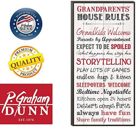 Image of Grandparents House Rules 12 x 6 Mounted Print Decorative Wall Art Sign Plaque