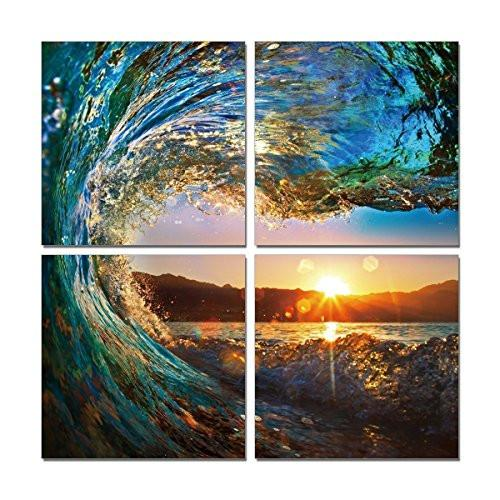 Natural art - Green Sea Wave Painting 4 pcs Wall Art Ocean View Art Print on Canvas Wall Decoration Wrapped with Wooden Frame Easy to Hang, (12×12in×4pcs) - zingydecor