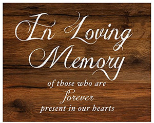 In Loving Memory Sign for Wedding Reception | Rustic Wood Look On Linen Textured Thick Cardstock Paper | Wedding Reception Decoration