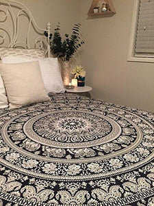 Tapestry Black Hippie Elephant Mandala Tapestry Indian Traditional Beach Throw Wall Art College Dorm Bohemian Wall Hanging Boho Queen Bedspread Tapestries (Black) - zingydecor