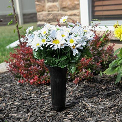 Image of Home-X Fluted Lawn and Garden Vase. Stake In Ground Vase for Lawn or Memorial