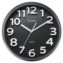 "Load image into Gallery viewer, Large Number Wall Clock, Plumeet 13"" Silent Wall Clock with Large Numbers and Non-ticking Digital, Modern Style Good for Living Room & Home & Office Battery Operated (Black)"