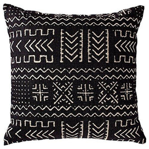 "Rivet Mudcloth-Inspired Pillow, 17"" x 17"", Onyx - zingydecor"