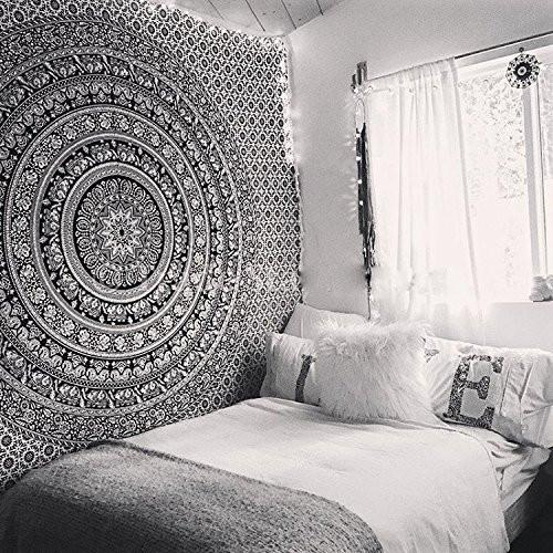 Tapestry Black Hippie Elephant Mandala Tapestry Indian Traditional Beach Throw Wall Art College Dorm Bohemian Wall Hanging Boho Queen Bedspread Tapestries (Black)