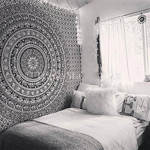 Image of Tapestry Black Hippie Elephant Mandala Tapestry Indian Traditional Beach Throw Wall Art College Dorm Bohemian Wall Hanging Boho Queen Bedspread Tapestries (Black)