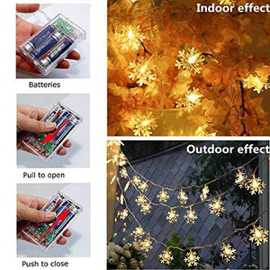 Christmas Lights, 40 LED Snowflake String  Fairy Lights for Home, Party, Christmas, Wedding, Garden, Christmas Garden Patio Bedroom Decor Indoor Outdoor Celebration Lighting - zingydecor