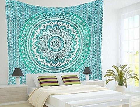 "Popular Handicrafts Th553 original Gold Ombre Tapestry Indian Mandala Wall Art, Hippie Wall Hanging, Bohemian Bedspread With Metallic Shine 84""x90"" - zingydecor"