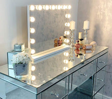 Load image into Gallery viewer, Hansong Large Vanity Makeup Mirror with Lights,Hollywood Lighted Dressing Tabletop Mirror or Wall Mounted Beauty Mirrors with 15 pcs Led Bulbs,Detachable 10X Magnification Spot Cosmetic Mirror