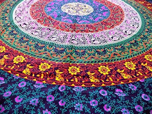 Marubhumi Hippy Mandala Bohemian Tapestries, Indian Dorm Decor, Psychedelic Tapestry Wall Hanging Ethnic Decorative Tapestry (85 x 55 Inches, Purple Multi)