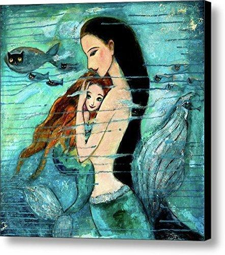 Modern Oil Painting Print Art Animal Painting Mermaid Pattern on Canvas Wall Art Home Decoration Unframe 20 x 20 in - zingydecor