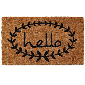 "Home & More 121812436 Calico Hello Doormat, 24"" x 36"" x 0.60"", Natural/Black - zingydecor"