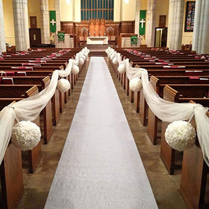 Healon Wedding White Aisle Runner 100 x 3 ft with Floral Print and Pull String - zingydecor