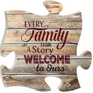 Every Family Has a Story 12 x 12 inch Wood Puzzle Piece Wall Sign Plaque - zingydecor