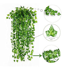 Load image into Gallery viewer, 84 Ft-12 Pack Artificial Ivy Leaf Garland Plants Vine Hanging Wedding Garland Fake Foliage Flowers Home Kitchen Garden Office Wedding Wall Decor - zingydecor