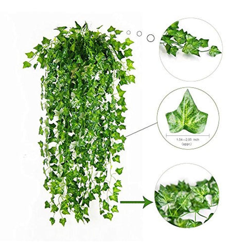 Image of 84 Ft-12 Pack Artificial Ivy Leaf Garland Plants Vine Hanging Wedding Garland Fake Foliage Flowers Home Kitchen Garden Office Wedding Wall Decor - zingydecor