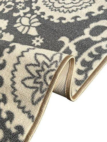 "Image of Rubber Backed Mat 18"" x 32"" Floral Swirl Medallion Grey & Ivory Doormat Accent Non-Slip Rug - Rana Collection Kitchen Dining Living Hallway Bathroom Pet Entry Rugs RAN2033-12 - zingydecor"