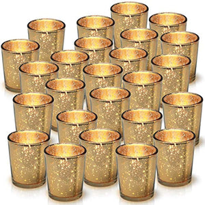 Granrosi Gold Mercury Votive Candle Holder Set of 25 - Made of Mercury Glass with A Speckled Gold Finish - Adds The Perfect Ambience to Your Wedding Decorations Or Home Decor - zingydecor